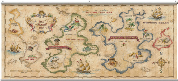 Treasure map antique minute mural