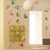 Art Applique Letters and Animals Wall Sticker