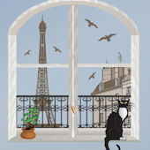 Art Applique Paris Trompe Loeil Wall Sticker