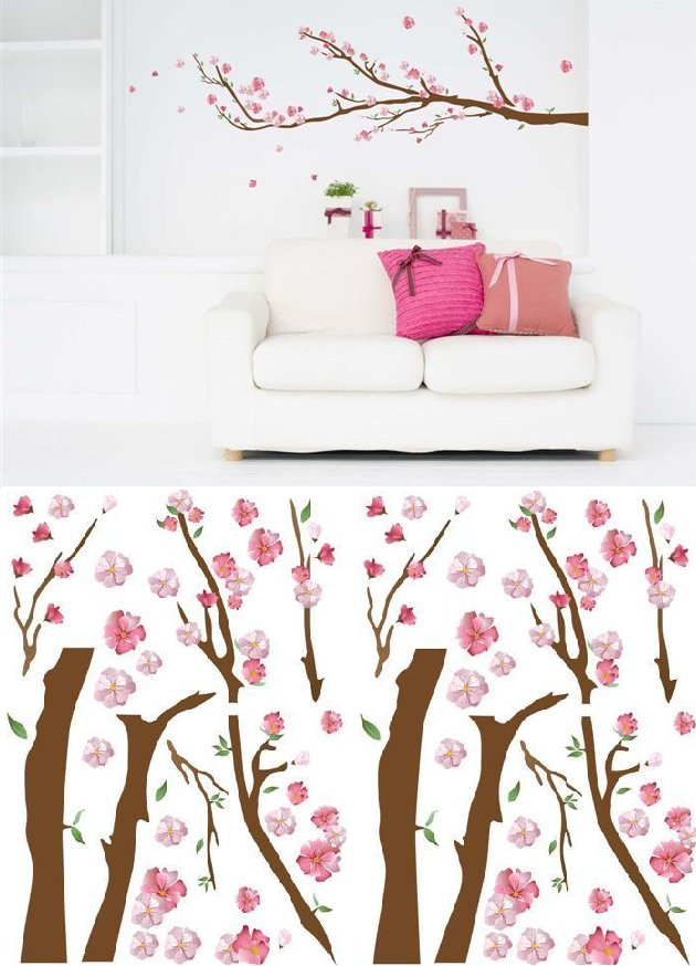 Art Applique Cherry Blossoms Wall Sticker - Wall Sticker Outlet