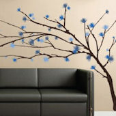 Art Applique Blue Tree Branches Wall Sticker