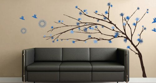 Art Applique Blue Tree Branches Wall Sticker - Wall Sticker Outlet