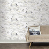 Asian Toile Winter White Peel And Stick Wallpaper