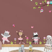 Ballerina Jungle Animals Wall Decals