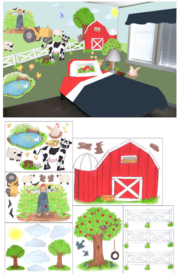 create a mural large barnyard wall sticker kit create your own words and quotes wall decal