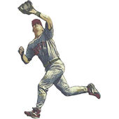Baseball Fielder Peel and Stick Mural in 2 Colors