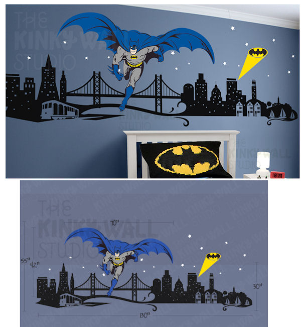 batman wall decal batman cityscape giant wall decals