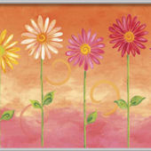 Orange Big Daisies Minute Mural