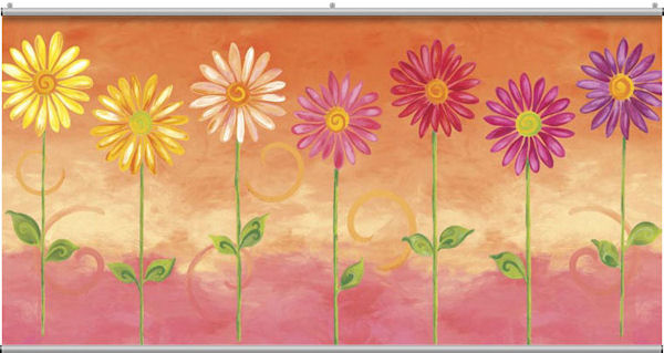 Orange Big Daisies Minute Mural - Wall Sticker Outlet