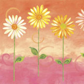 Orange Big Daisies Pre Pasted Wall Mural