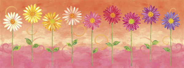 Orange Big Daisies Pre Pasted Wall Mural - Wall Sticker Outlet