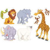 Biggies Zoo Animals Wall Stickies Decals