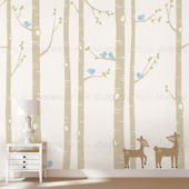 Custom Color Birch Tree Deer and Birds Wall Decal