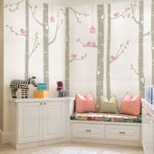 Custom Color Birch Tree With Birds Wall Decal