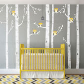 Custom Color Birch Tree With Owls Wall Decal