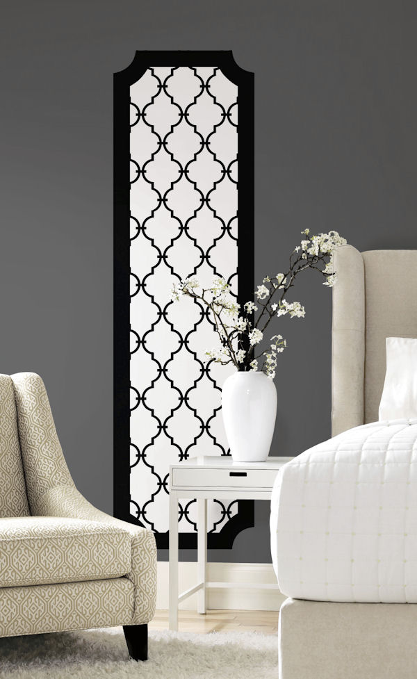 Black And White Trellis Peel And Stick Wall Panel
