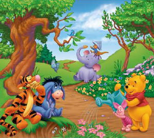 Disney Winnie The Pooh Self Stick Mini Wall Mural - Wall Sticker Outlet