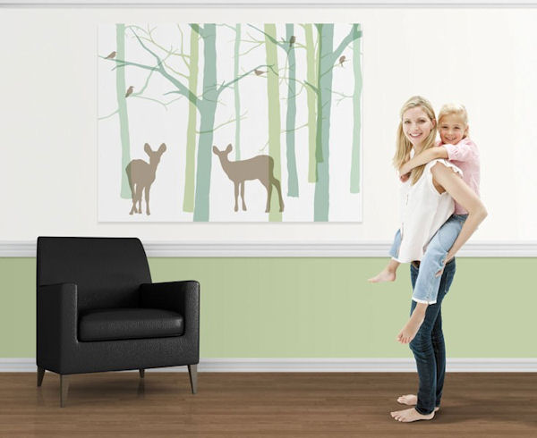 Blue and green forest friends easy up wall mural for Easy wall mural