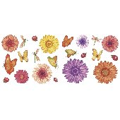 Daisy and Butterflies Peel and Stick Appliques
