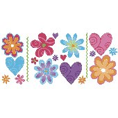 Flirty Flowers Peel and Stick Appliques