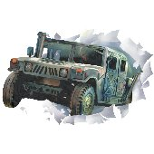 Military Hummer Through The Wall Applique