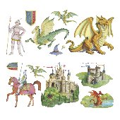 Knights and Dragons Peel and Stick Appliques