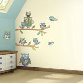 Blue Owl Prepasted Accent Wall Mural
