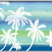 Retro Palm Blue Minute Mural