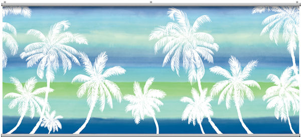Retro Palm Blue Minute Mural - Wall Sticker Outlet