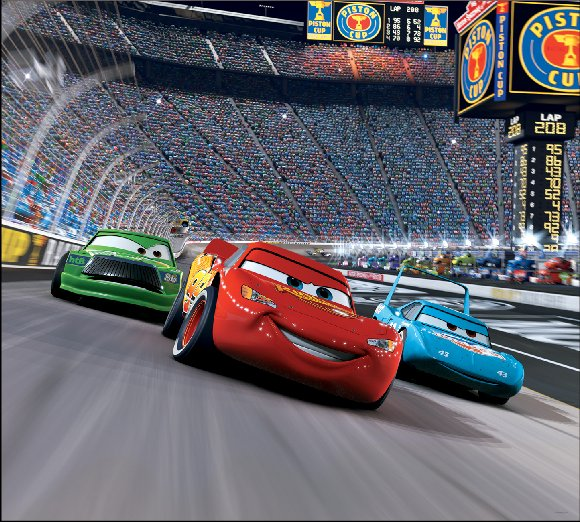 Disney cars race track self stick mini wall mural - Lecteur blue ray mural ...