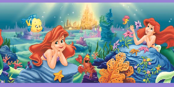 Little Mermaid Ariel Prepasted Wall Border - Wall Sticker Outlet