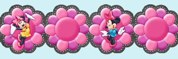 Minnie Mouse Floral Pink Prepasted Wall Border - Wall Sticker Outlet
