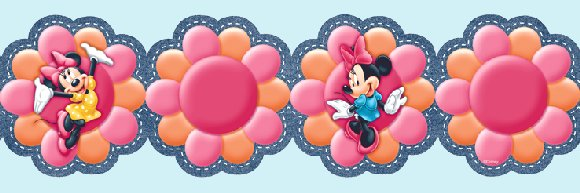 Minnie Mouse Floral Orange Prepasted Wall Border - Wall Sticker Outlet