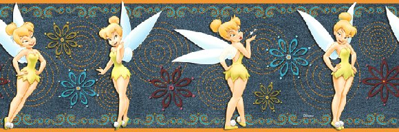 Denim Tinker Bell Prepasted Wall Border - Wall Sticker Outlet