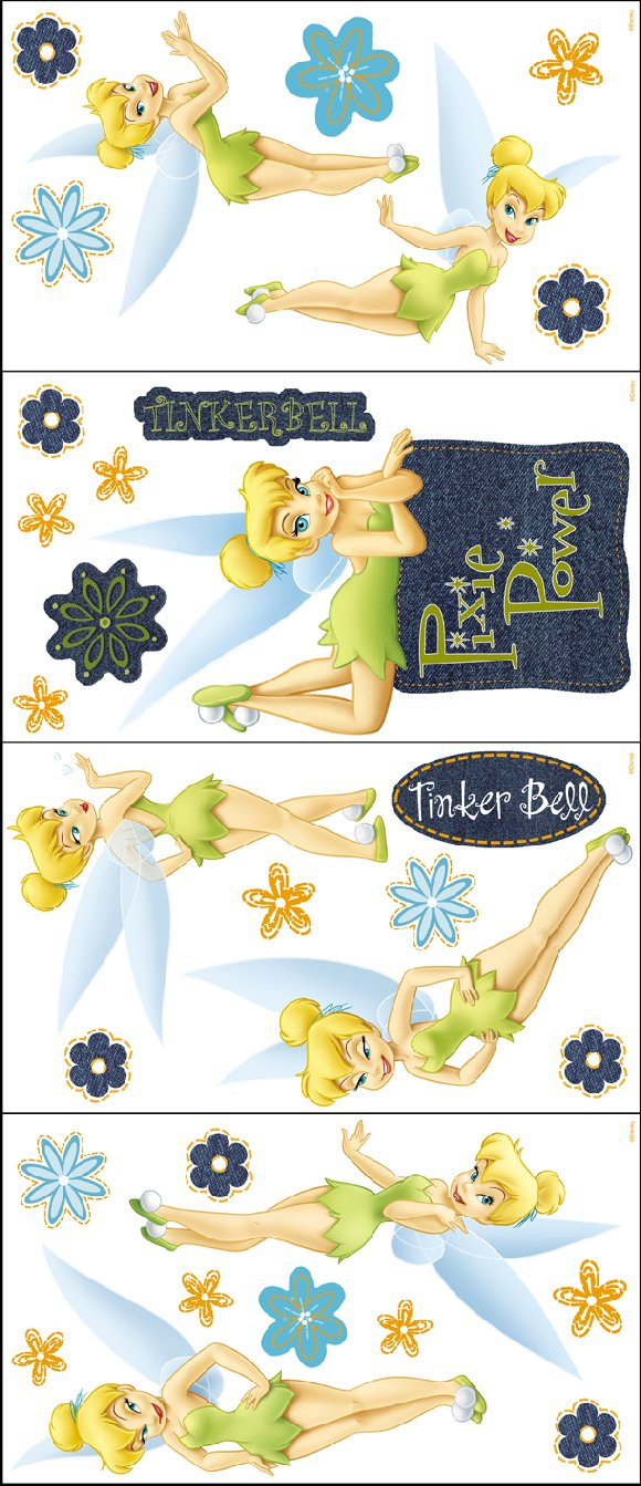 Denim Tinker Bell Self Stick Room Appliques - Wall Sticker Outlet