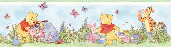 lazy daze winnie the pooh 5 inch wall border. Black Bedroom Furniture Sets. Home Design Ideas