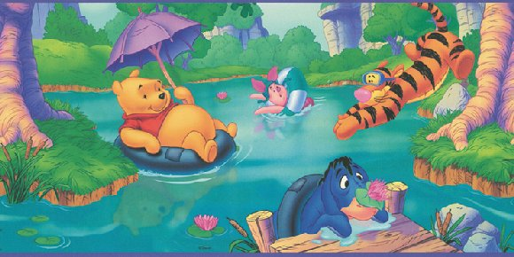 Winnie the Poo Swimming Hole Prepasted Wall Border - Wall Sticker Outlet