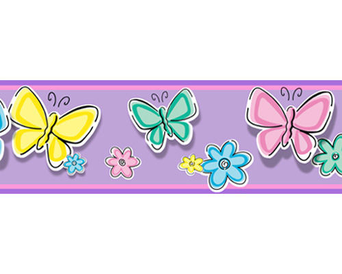 Bedtime butterfly peel and stick wall border for Butterfly wallpaper border