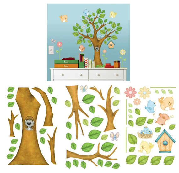 Trees Birds and Butterflies Wall Sticker Kit - Wall Sticker Outlet