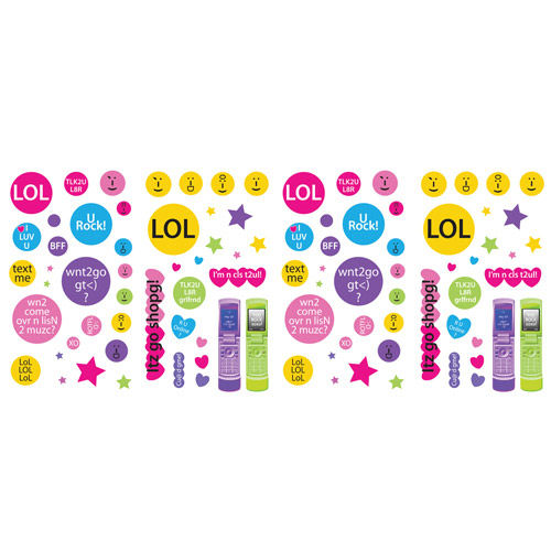 Techie Girl Peel and Stick Wall Sticker Appliques - Wall Sticker Outlet
