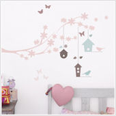 Branches and Bird Houses Wall Stickers