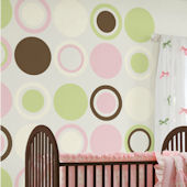 Wall Pops Baby Pink Green White Dot Room Package