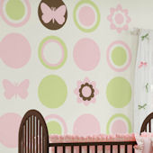 Wall Pops Baby Pastel Dots Butterfly Room Package