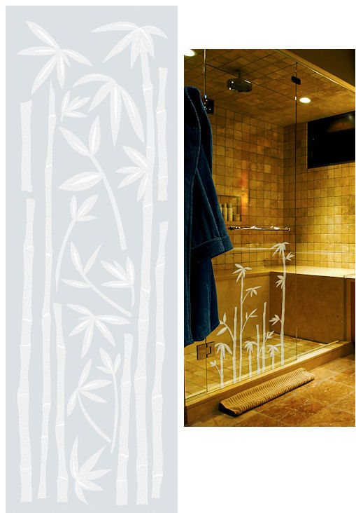 Bamboo Etched Glass Peel And Stick Wall Sticker