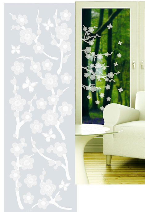 Blossom Etched Glass Peel And Stick Wall Sticker
