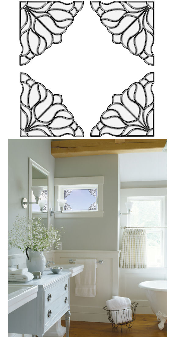 Bouquet Corners Clear Stained Glass Sticker SALE - Wall Sticker Outlet