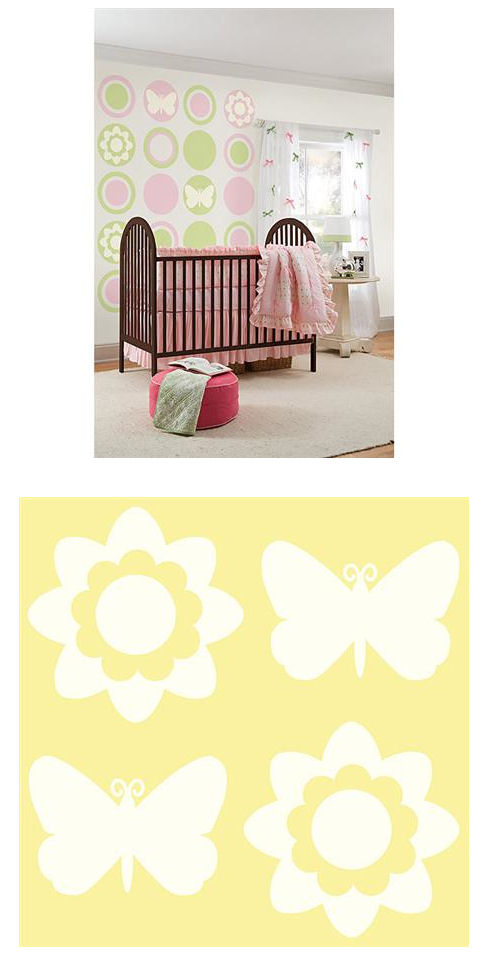 Butterfly and Flower Silhouettes Ivory - Wall Sticker Outlet