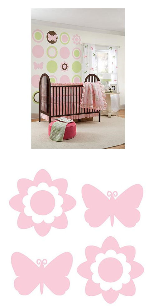 Butterfly and Flower Silhouettes Pink - Wall Sticker Outlet