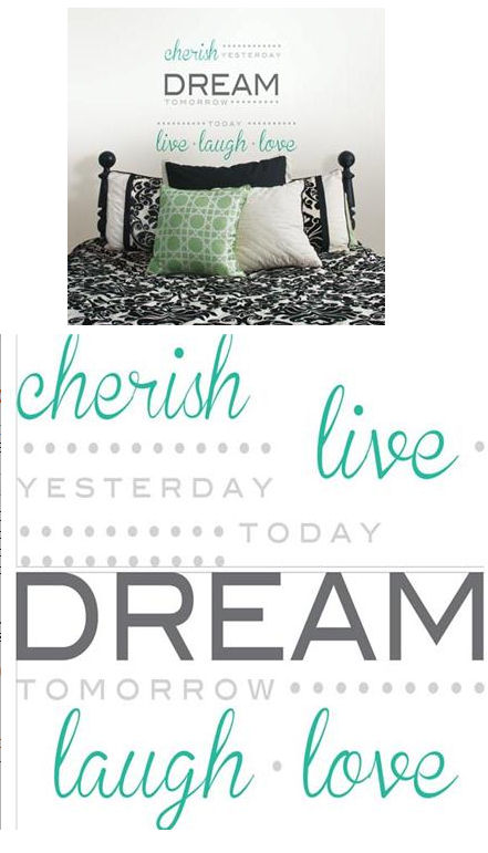Cherish Dream Live Wall Quote Decal - Wall Sticker Outlet