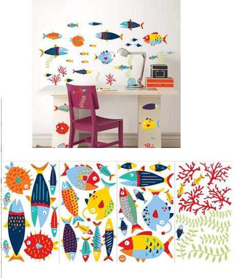 Fish Tales Peel and Stick Decals - Wall Sticker Outlet